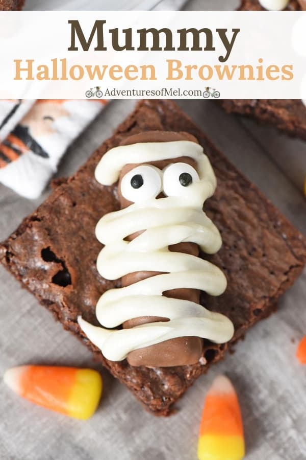easy Halloween treats, Twix bar mummy Halloween brownies