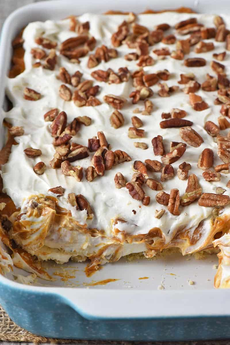 No Bake Pumpkin Dessert layers in blue baking dish