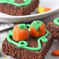 homemade pumpkin patch halloween brownies with candy corn and candy corn pumpkins
