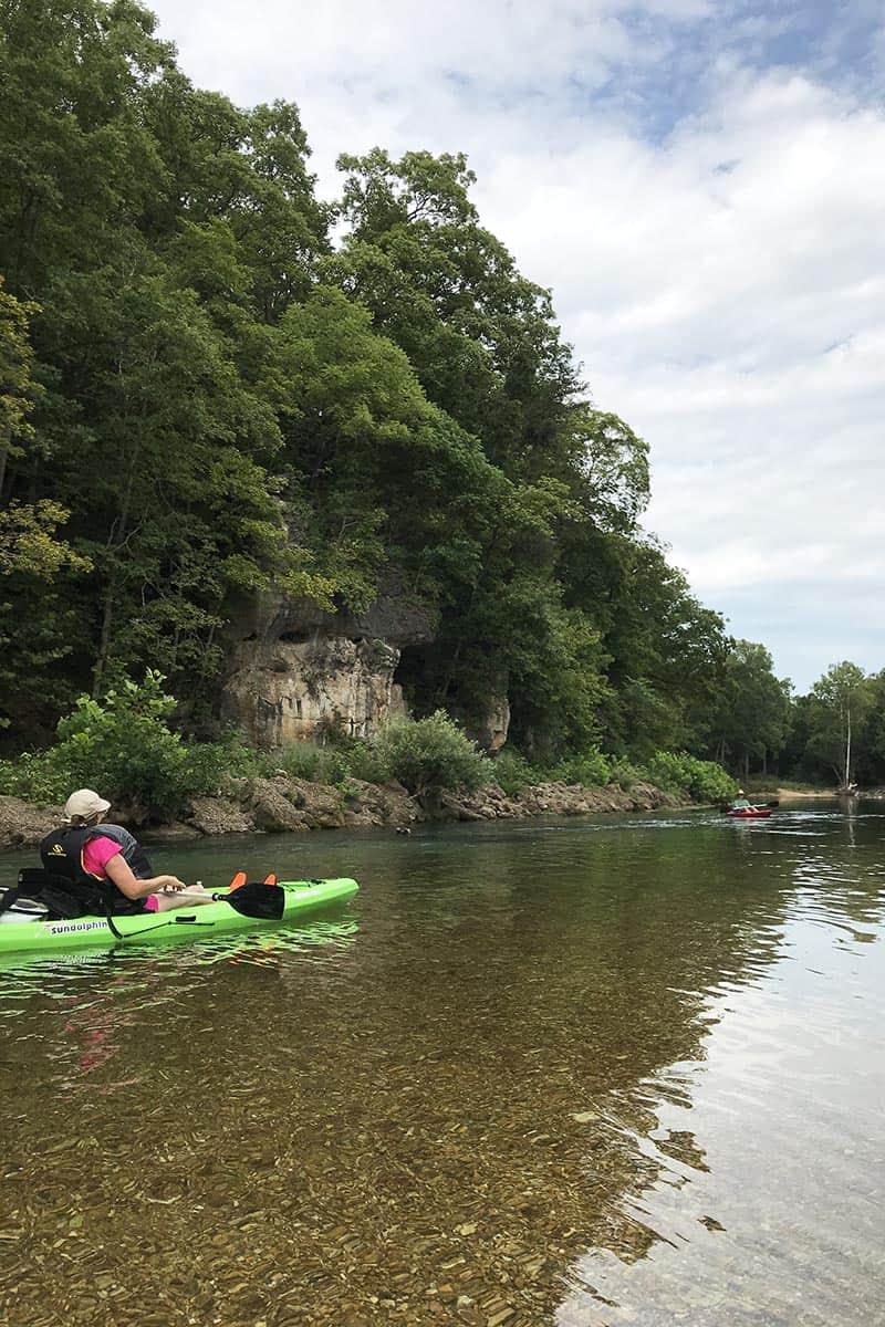 river kayaking on Jacks Fork River Missouri float trip