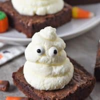 Whipped Cream Ghost Halloween Brownies