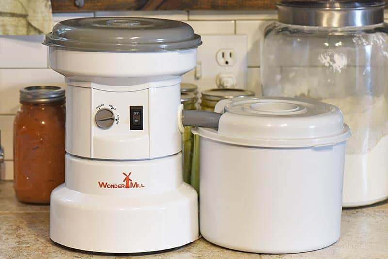 WonderMill Grain Mill used for buttermilk cornbread recipe