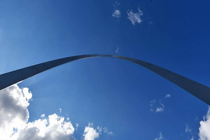 below the St. Louis Arch in Gateway Arch National Park