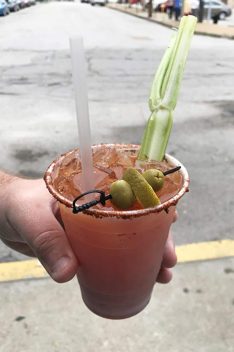 bloody Mary drink from Norton's Cajun Corner in Soulard Market when you can experience must try St. Louis foods