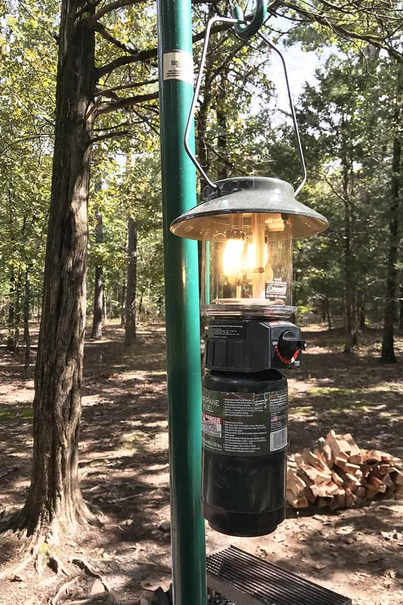 lantern hanger in Petit Jean State Park campsite