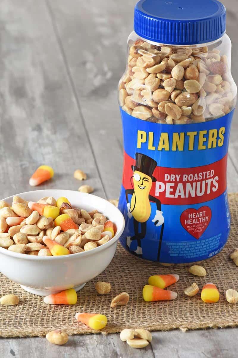 candy corn and peanuts for no bake peanut butter bars Halloween treats recipe