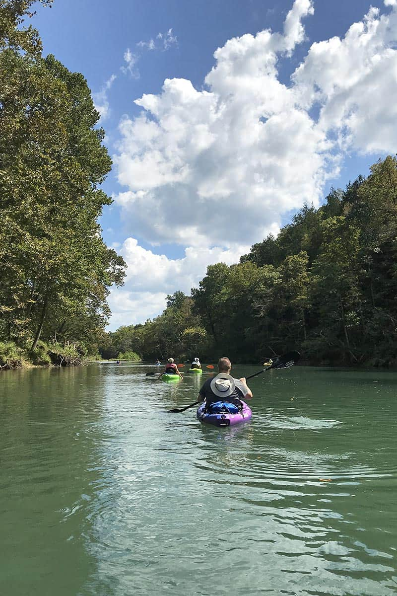 river kayaking on the Current River on Ozarks National Scenic Riverways in Missouri