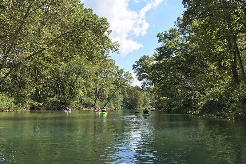 peaceful float trip in Missouri on the Current River from Akers to Pulltite