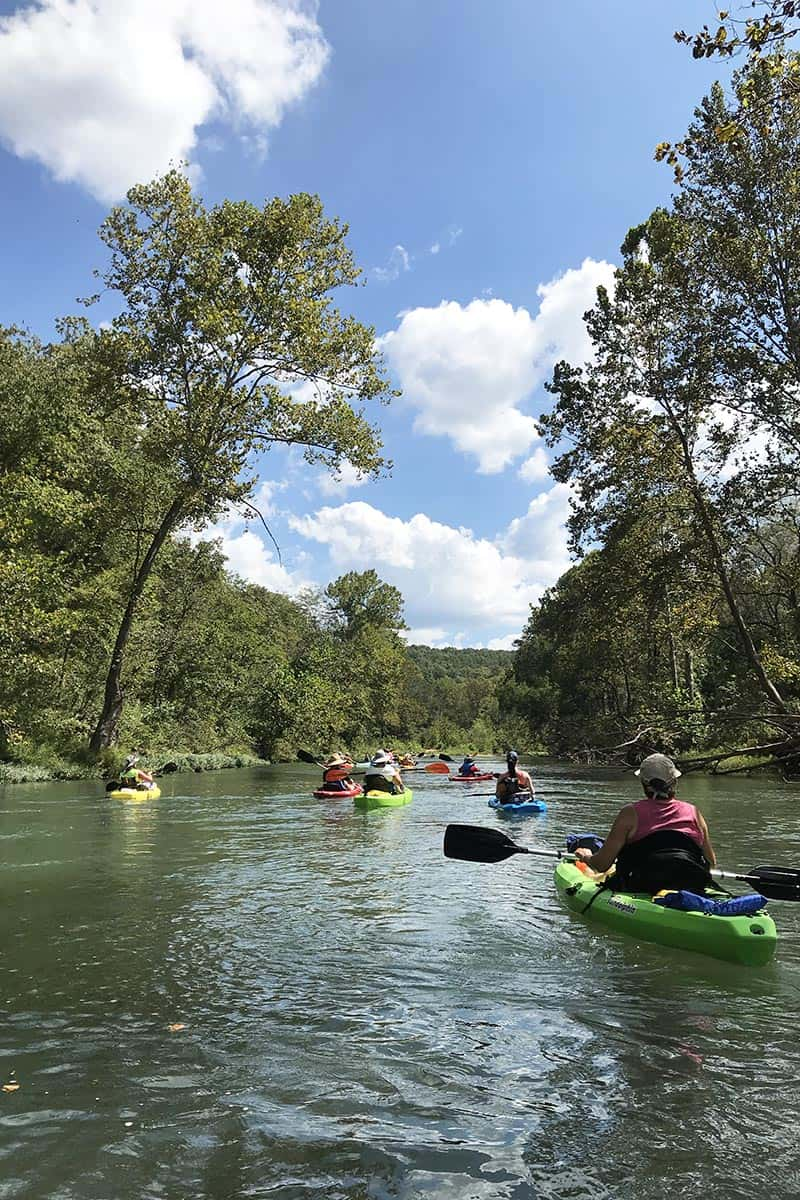 kayaking on the Current River in Missouri