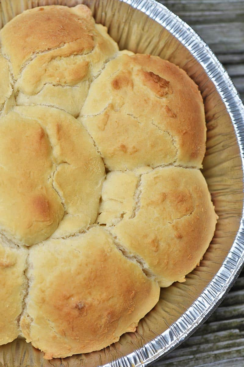 foil pie plate of easy drop biscuits camping food