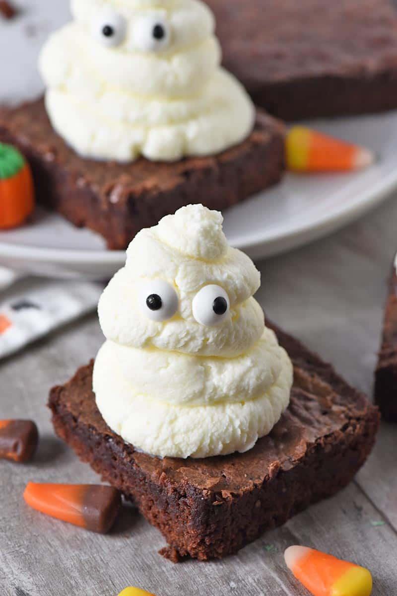Whipped Cream Ghost Halloween Brownies Halloween Treats