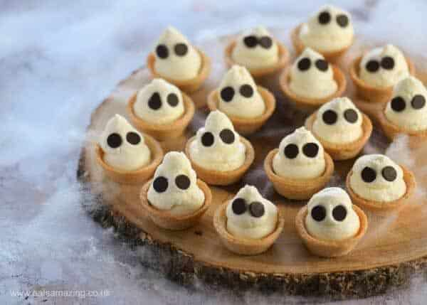 Ghostly Mini Cheesecake Bites Halloween Treats