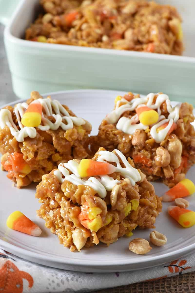 No Bake Peanut Butter Bars with Candy Corn Halloween Treats