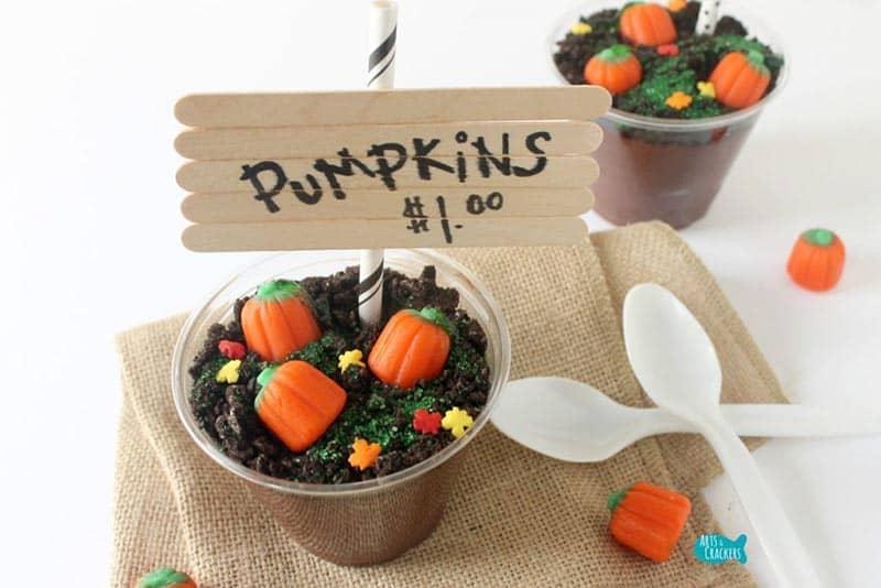 Pumpkin Patch Pudding Cups Halloween Treats