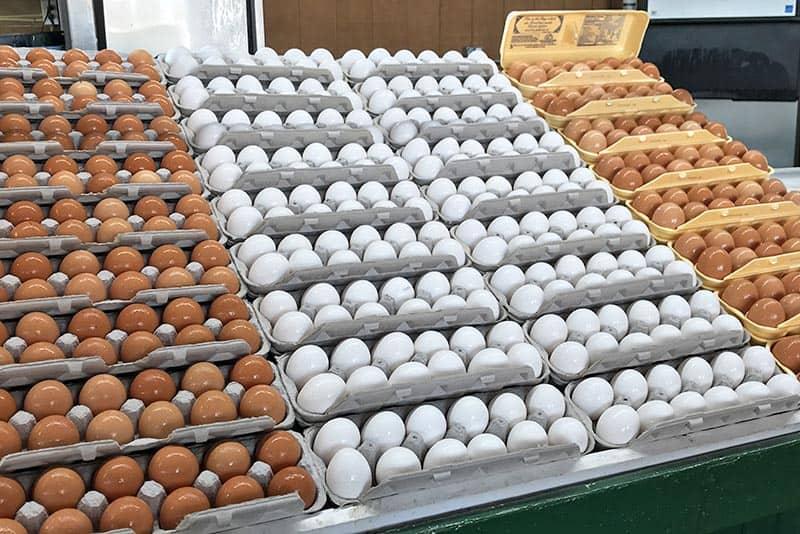 fresh eggs for sale at Soulard Market, Soulard Farmer's Market in St. Louis