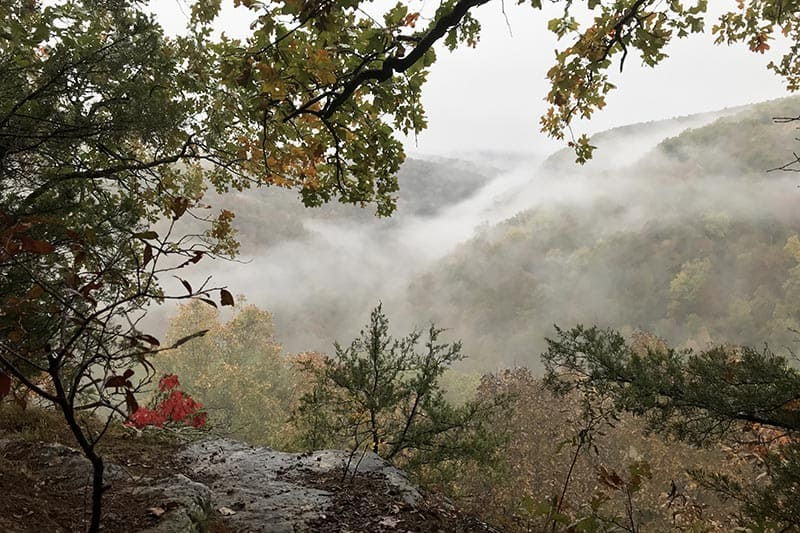 fall hiking to Hawksbill Crag or Whitaker Point in the Natural State, autumn view of the Buffalo National River Wilderness and Ozark National Forest