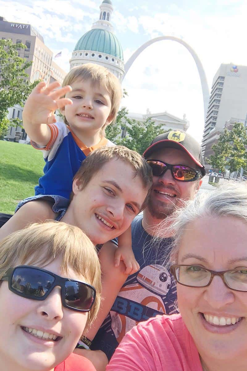 family picture at the Arch in Gateway Arch National Park