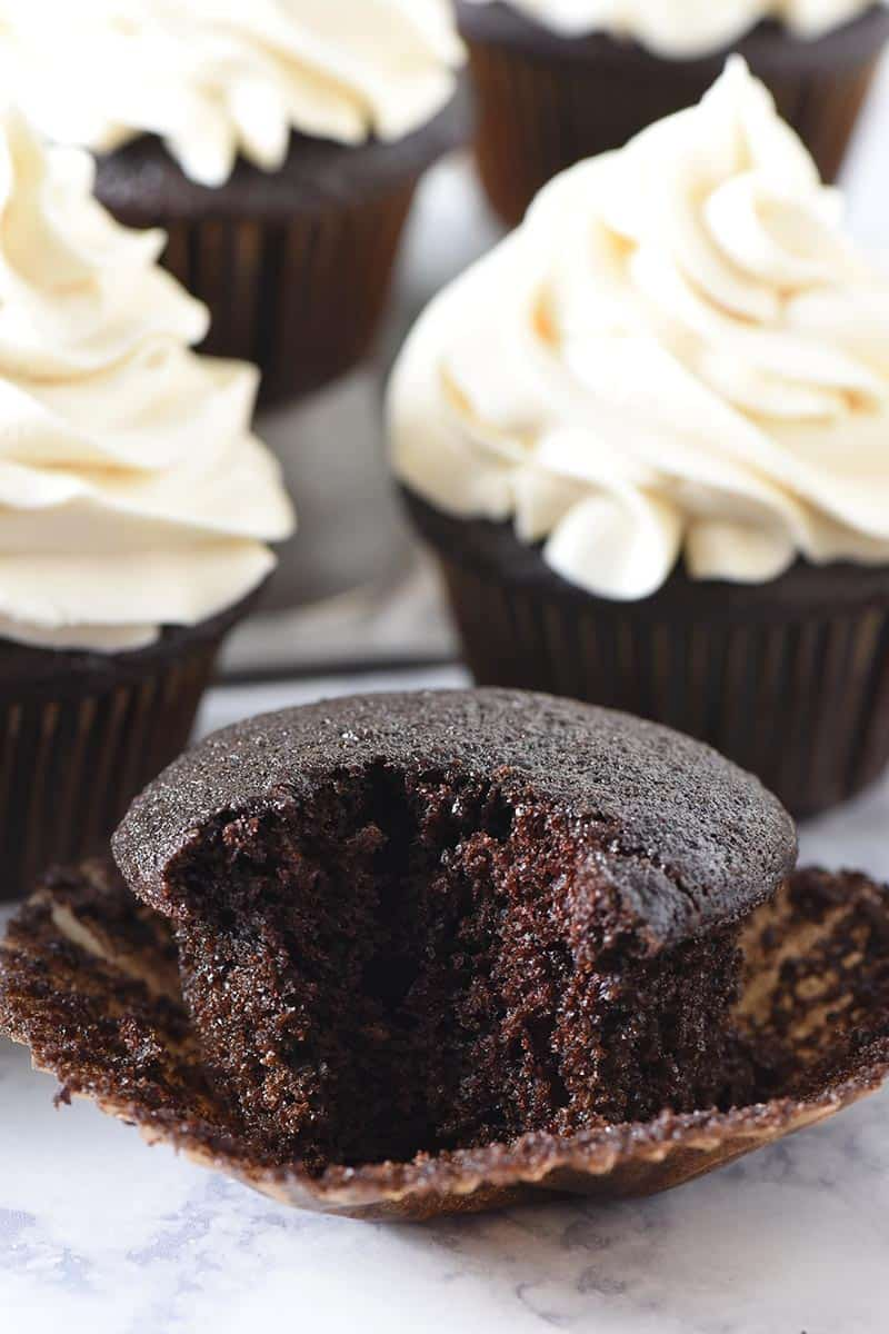 bite out of moist chocolate cupcakes