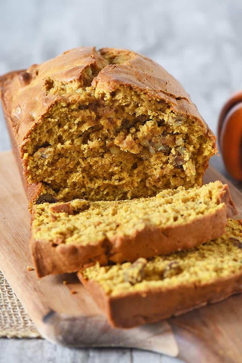 best pumpkin bread recipe, sliced on cutting board