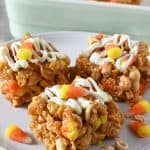No Bake Peanut Butter Bars with Candy Corn and Peanuts