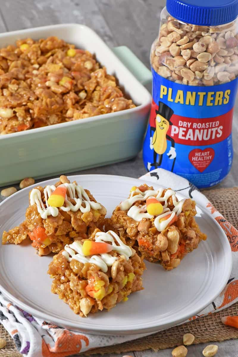 no bake peanut butter bars Halloween treats for kids with jar of PLANTERS peanuts