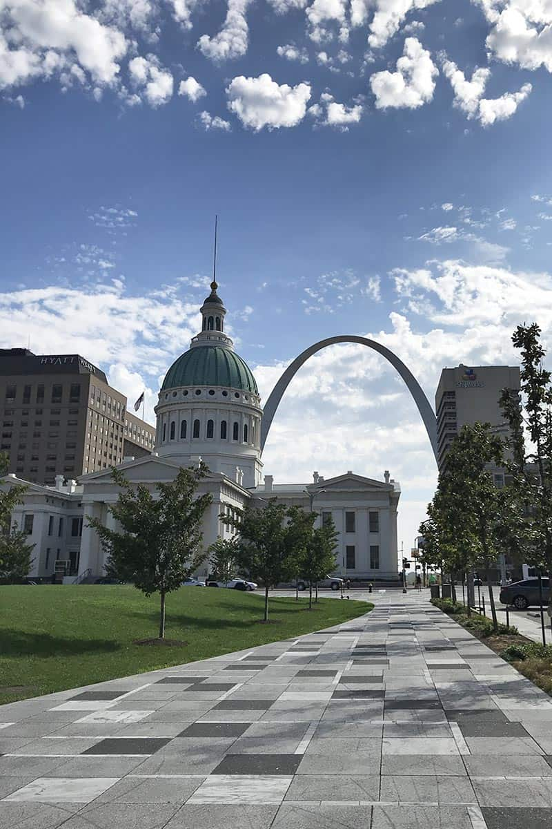 view of the Old Courthouse and the Arch in St. Louis, Missouri