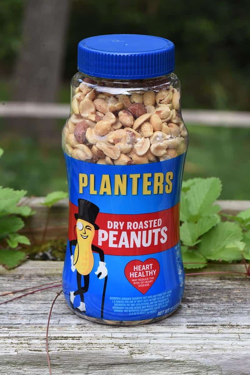 jar of PLANTERS Dry Roasted Peanuts for no bake peanut butter bars recipe