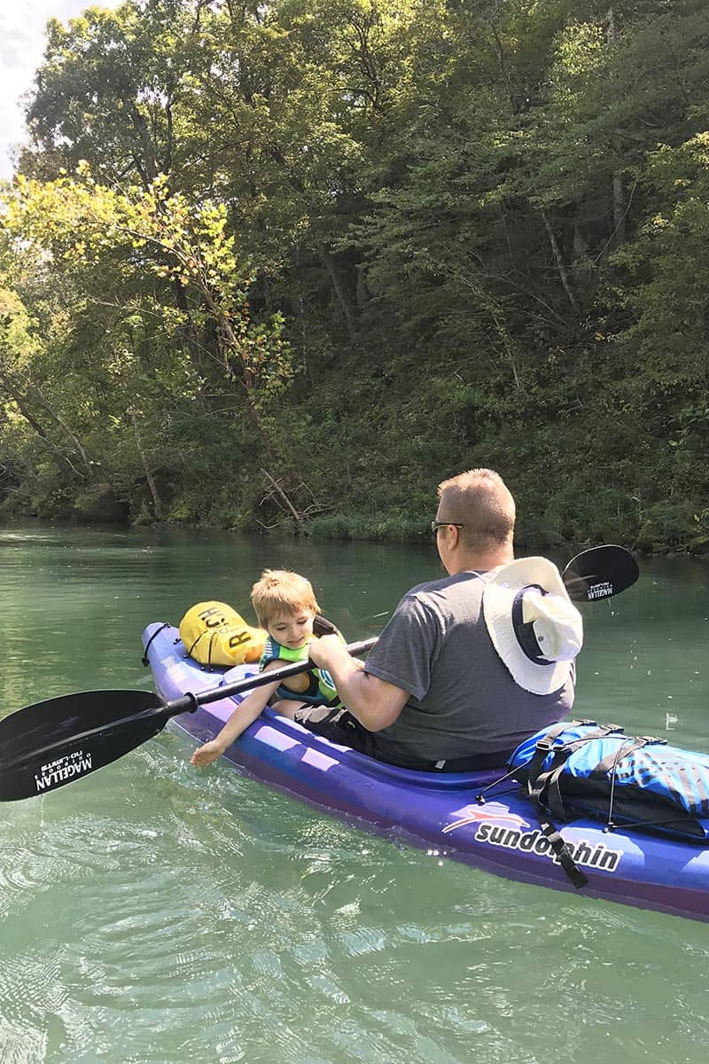kayaking with a toddler on the Current River on Ozark National Scenic Riverways