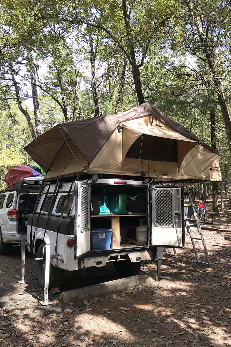 rooftop tent camping at Petit Jean State Park in campsite
