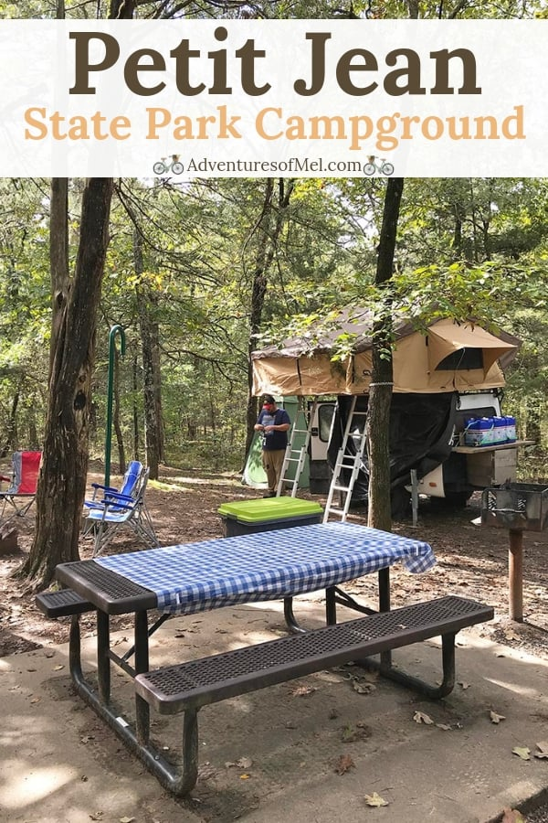 camping at Petit Jean State Park campground in Arkansas