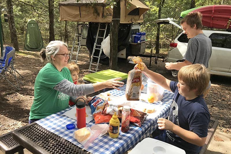 picnic in Petit Jean State Park campsite