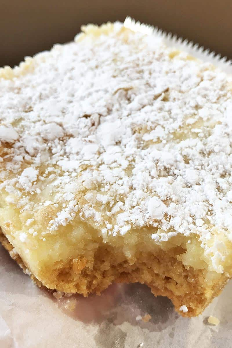 slice of gooey butter cake from Soulard Bakery, staple St. Louis foods