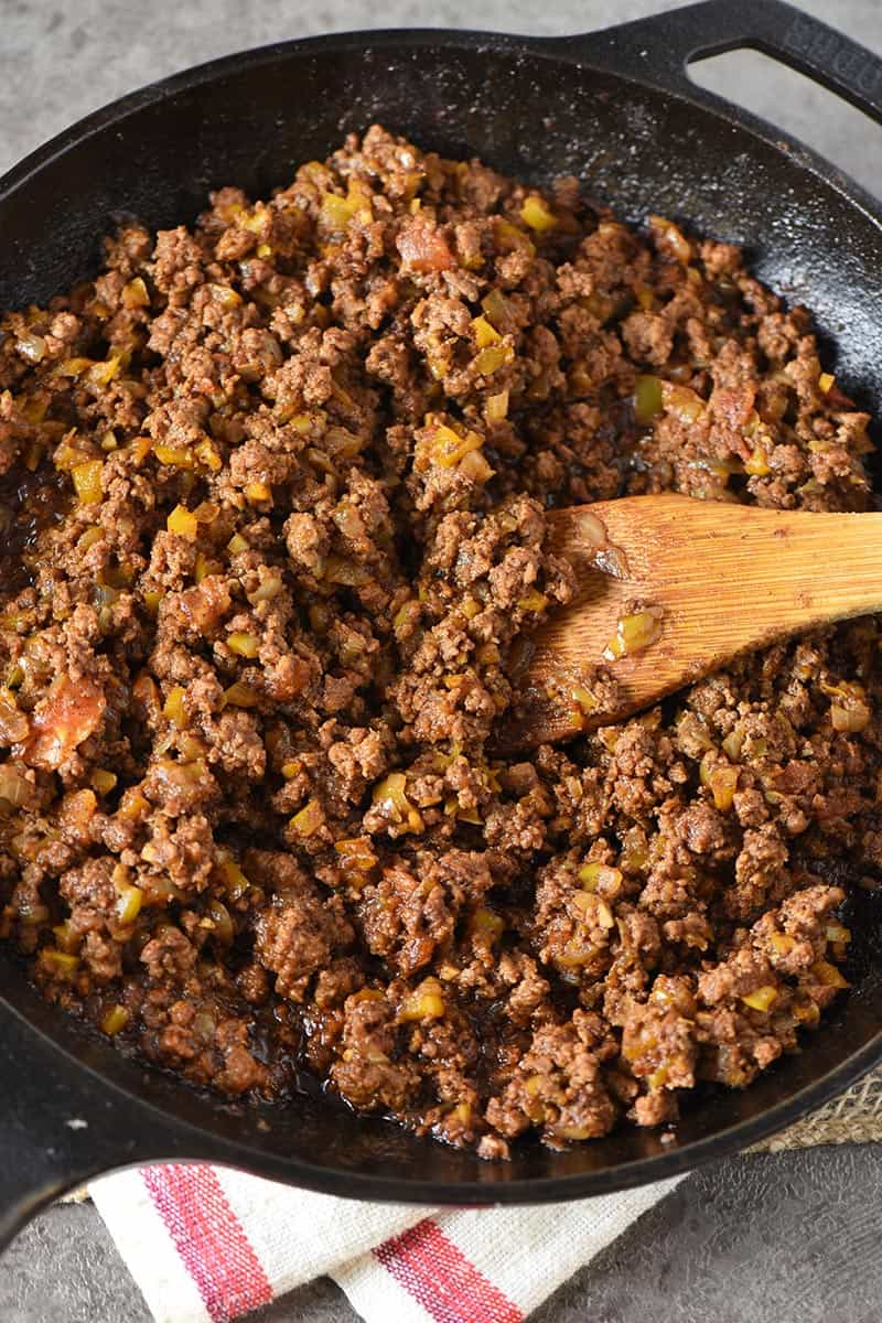 taco sloppy joes ground beef mixture in cast iron skillet