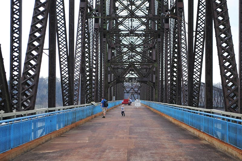 things to do in St. Louis include walking across Chain of Rocks Bridge, a Route 66 icon