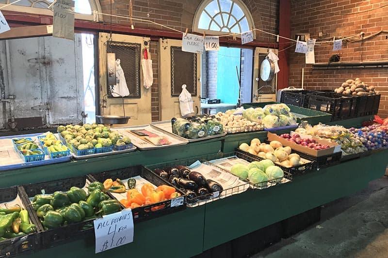 vegetable stall at Soulard Market, historic St. Louis Farmer's Market