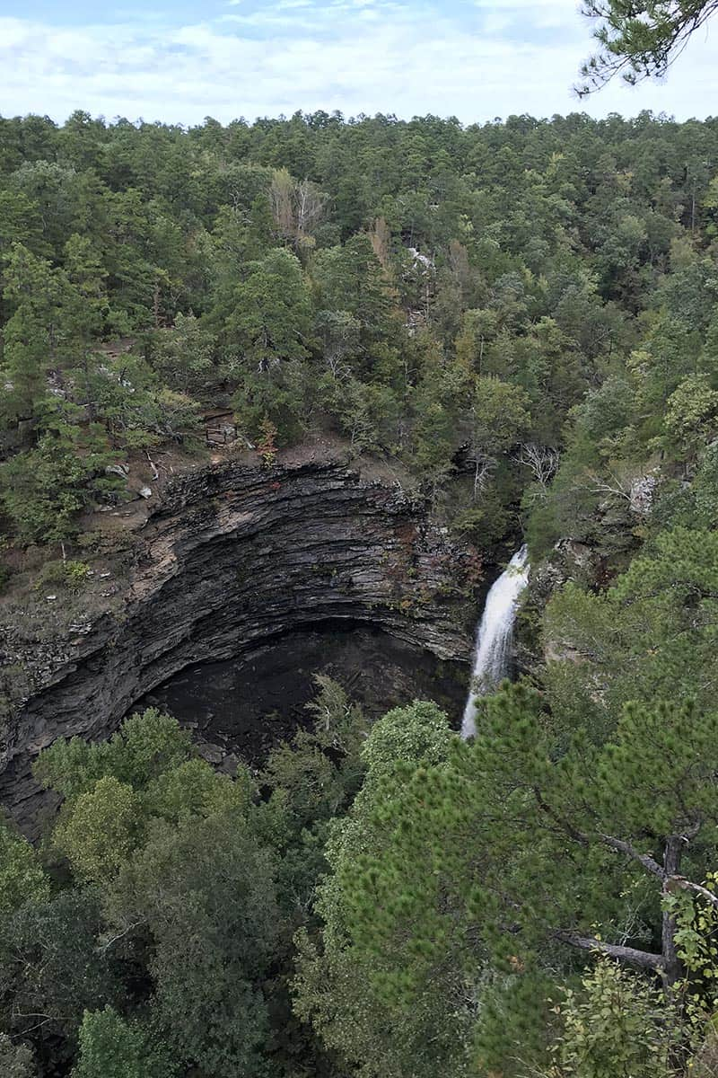 view of Cedar Falls from Cedar Falls Overlook in Petit Jean State Park