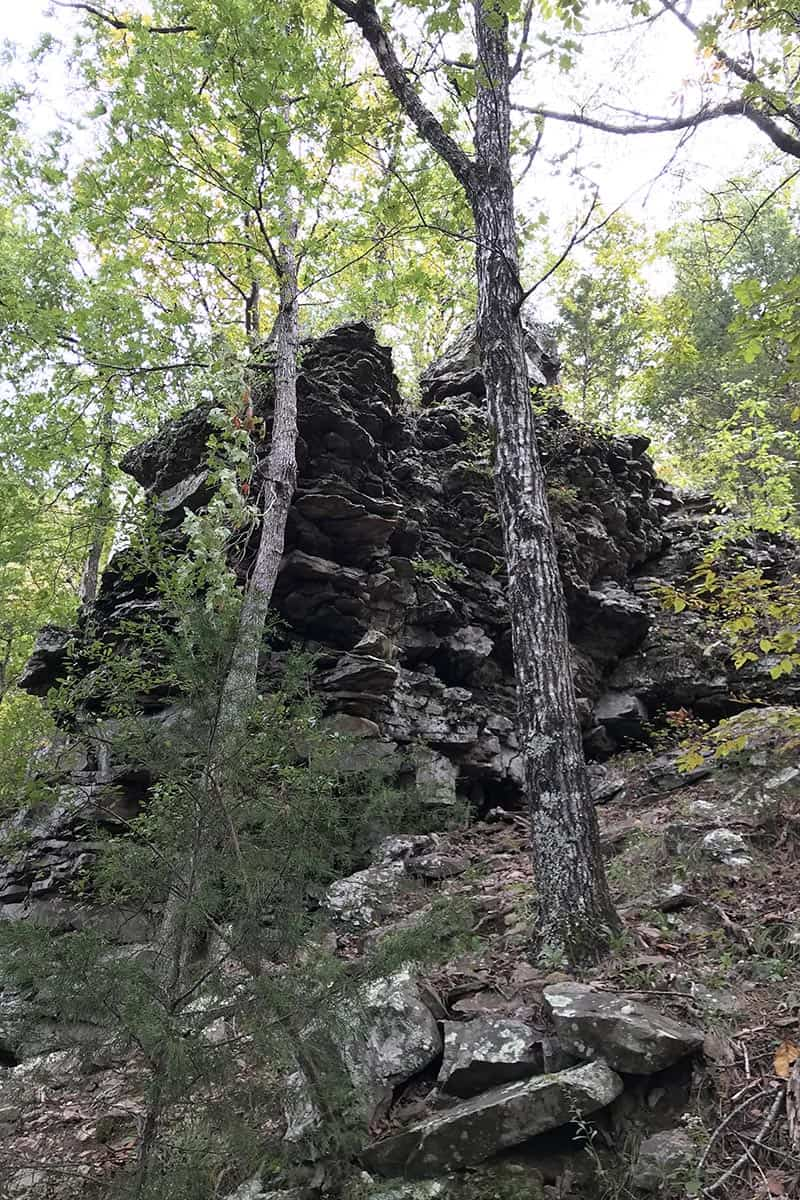 rock formation on Cedar Falls Trail in Petit Jean State Park
