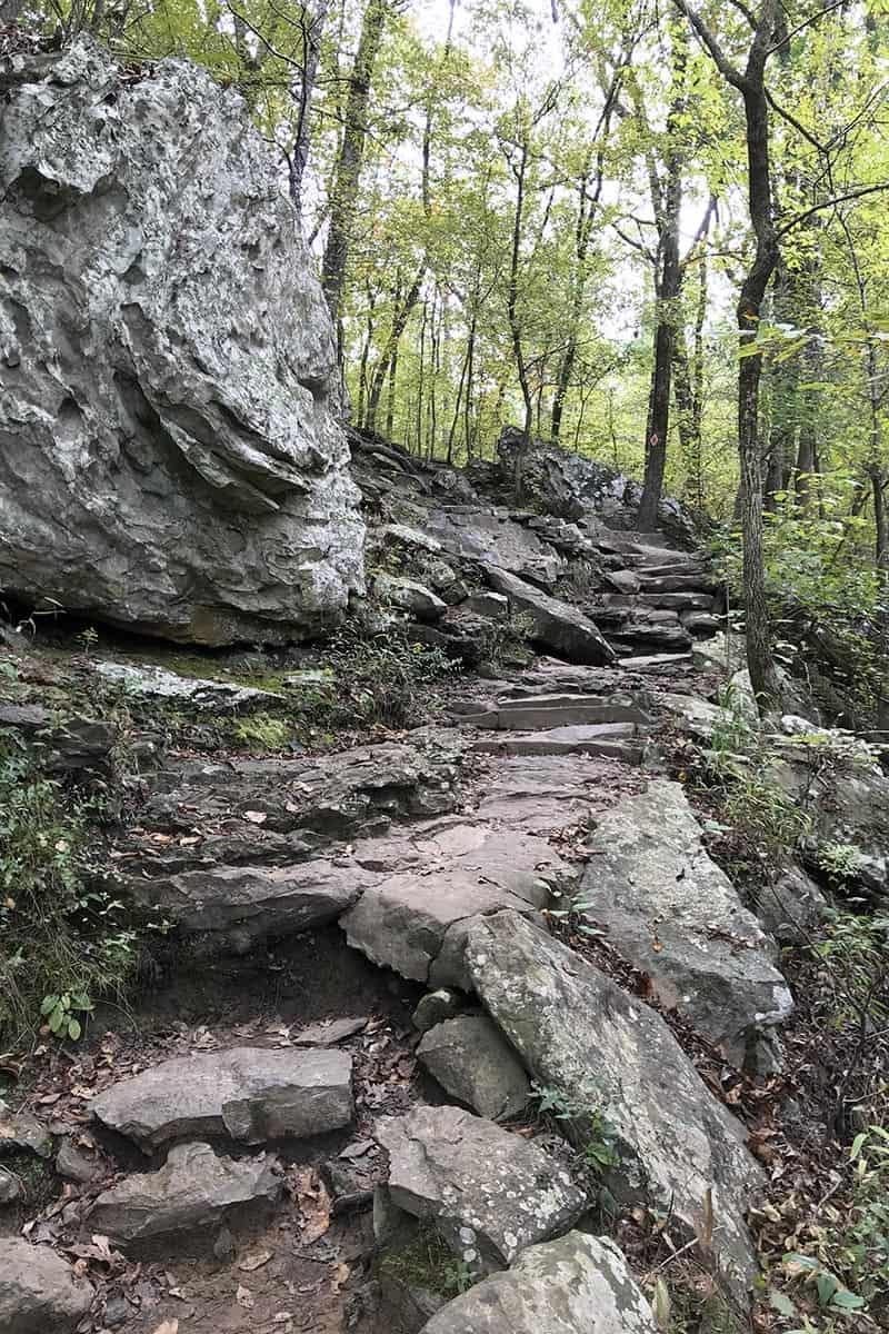 rocky hill on Cedar Falls Trail in Petit Jean State Park