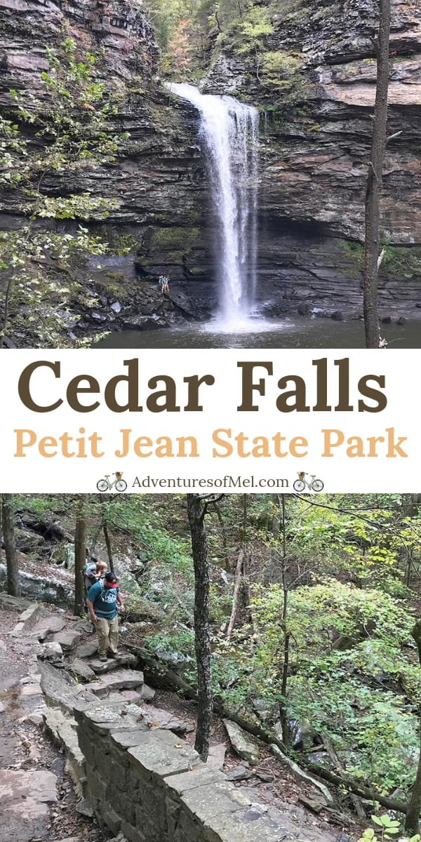 Hiking Cedar Falls Trail in Petit Jean State Park in Arkansas