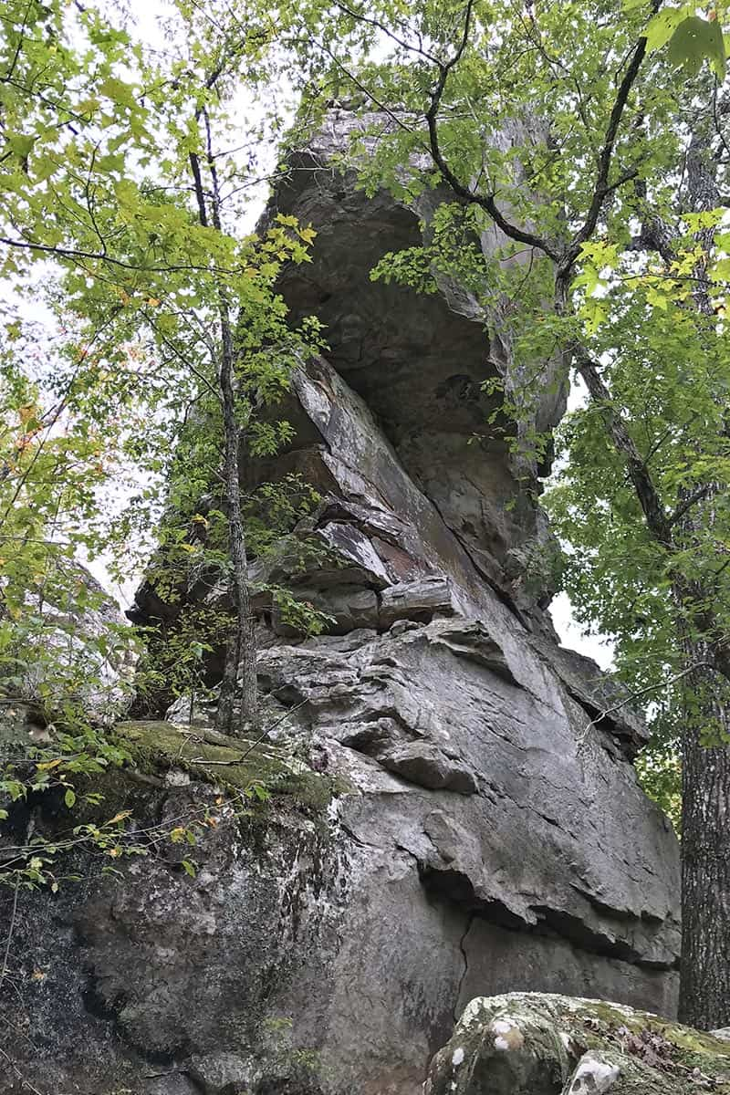 side of the Natural Bridge on Seven Hollows Trail in Petit Jean State Park