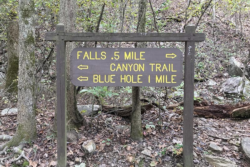 sign pointing the way to Cedar Falls in Petit Jean State Park, Arkansas