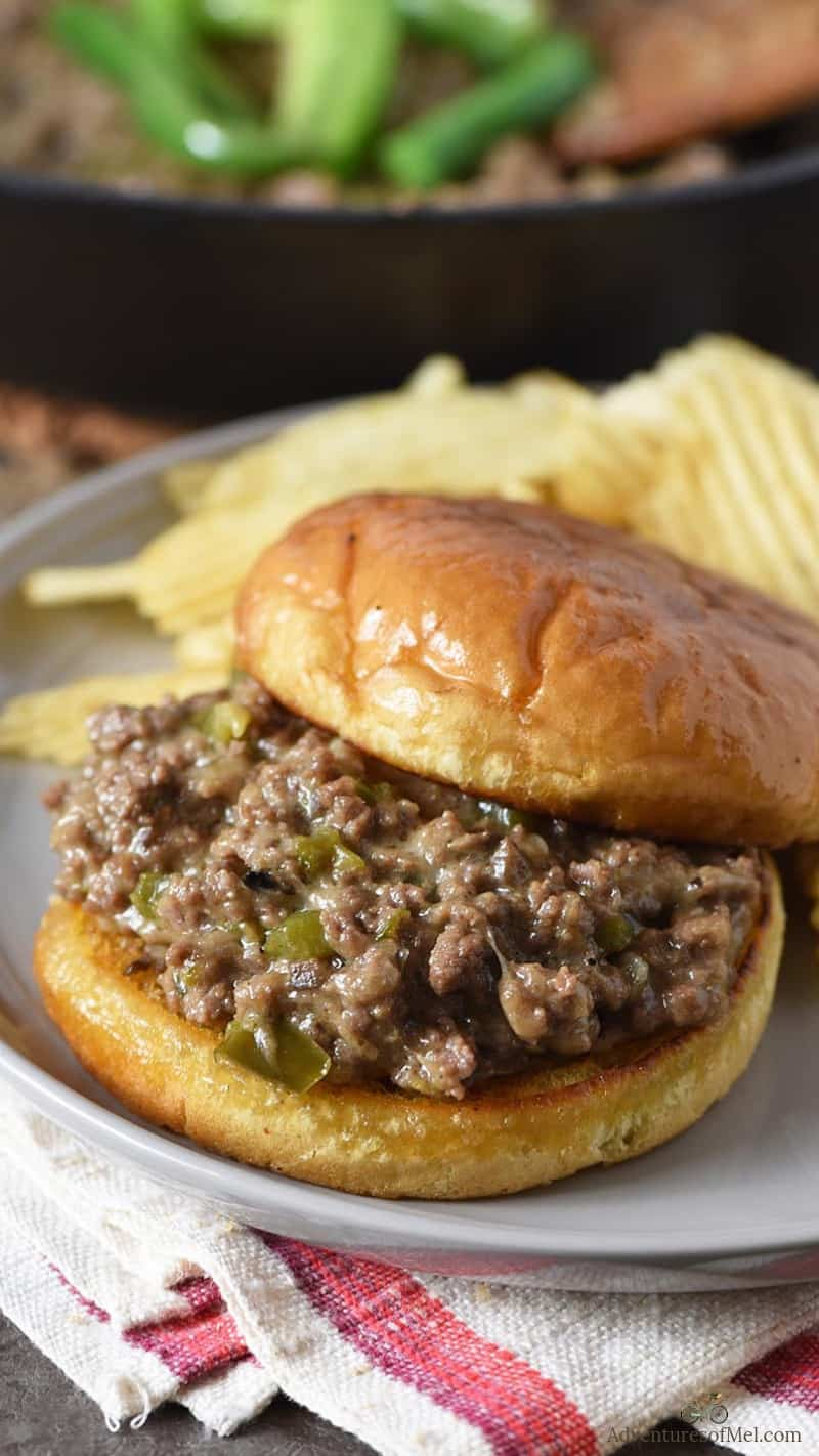 homemade Philly cheesesteak sloppy joes recipe