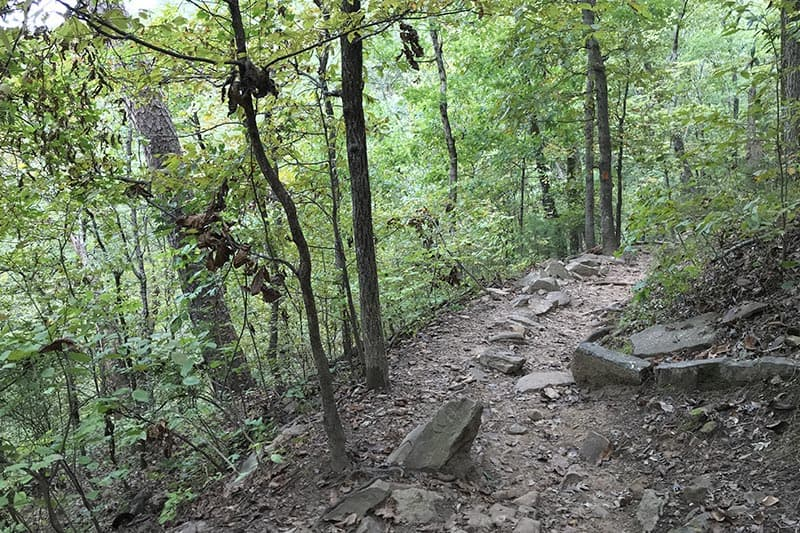 rocky trail going down to Cedar Falls in Petit Jean State Park
