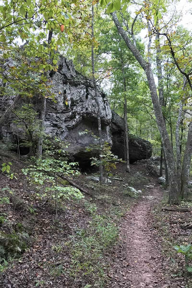 boulders and bluffs on Arkansas hiking trail, Seven Hollows Trail, in Petit jean State Park