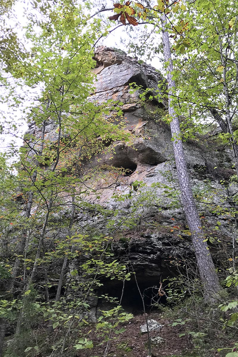 bluff with little caves on Seven Hollows Trail in Petit Jean State Park