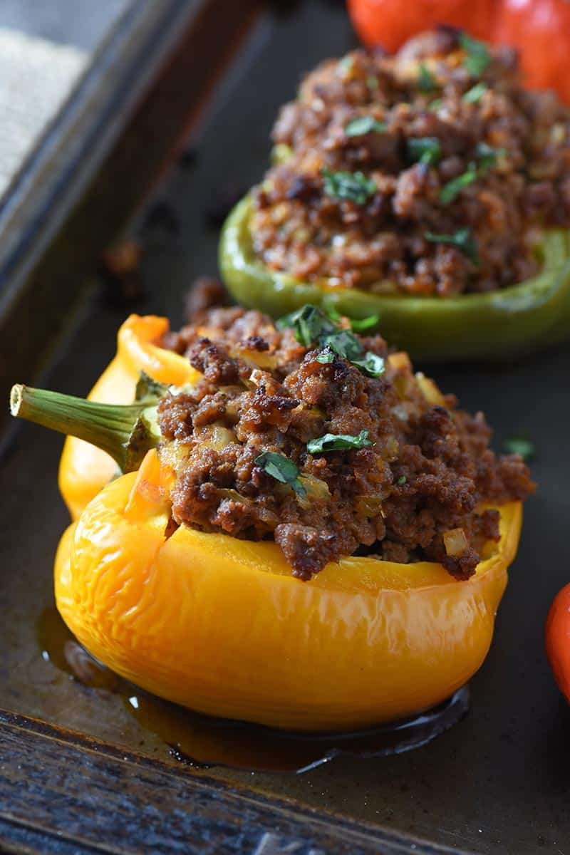 yellow sloppy joe stuffed bell pepper with stem intact