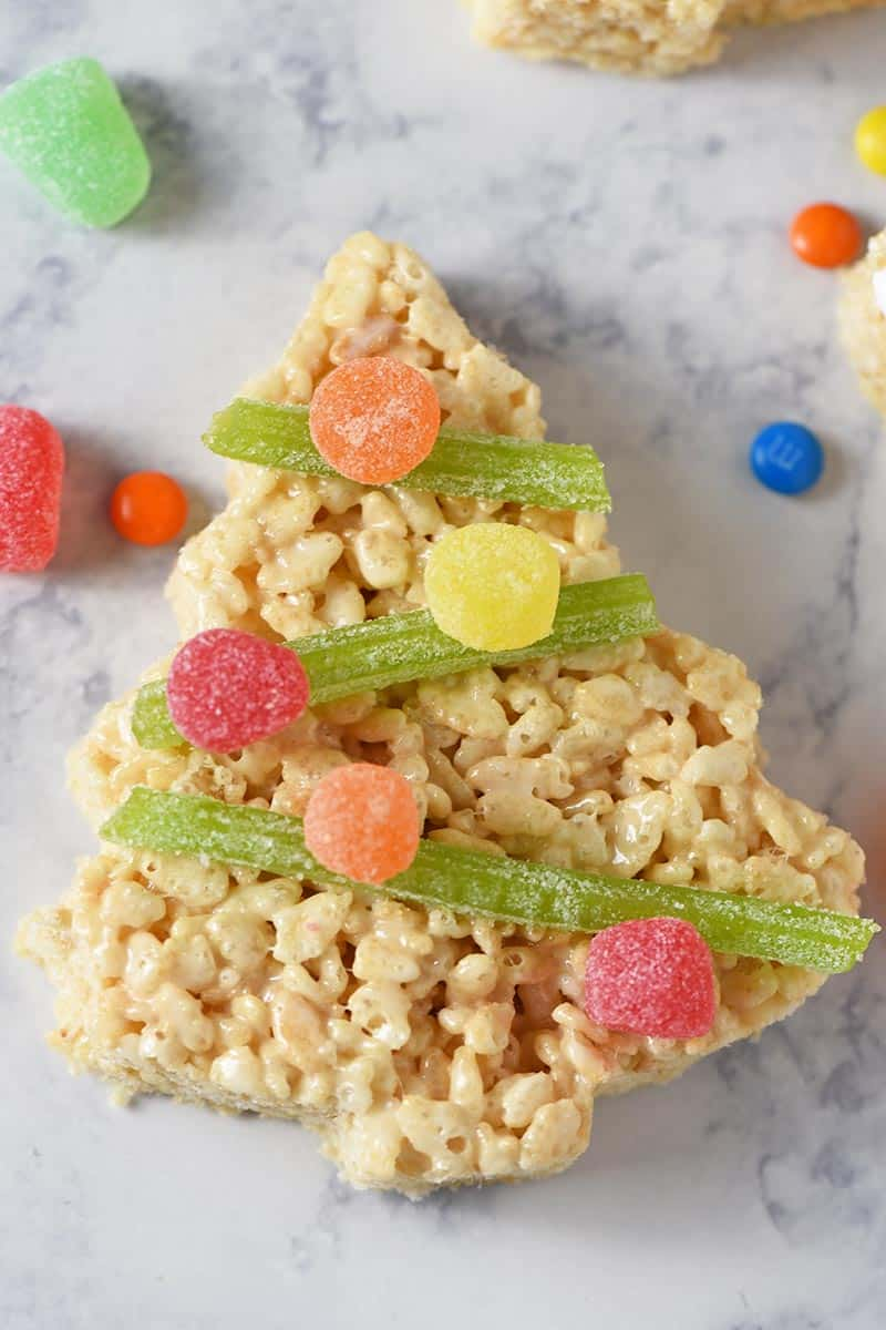 spice drops and sour twist candy decorating Christmas tree Rice Krispie treats