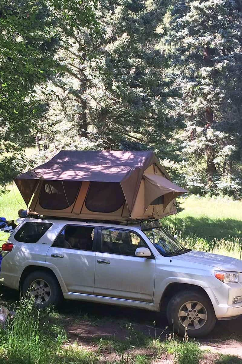 CVT tent, car roof tent on white Toyota 4Runner