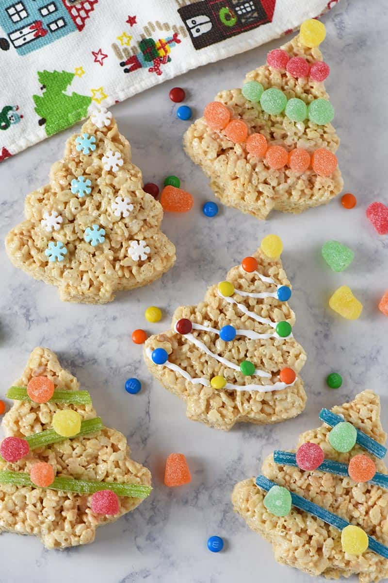 festive decorated Christmas trees made from Rice Krispies cereal