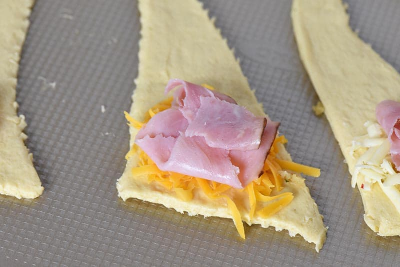 making leftover ham and cheese crescent rolls, easy party appetizers